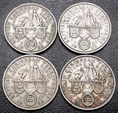 Lot of 4 East Caribbean States 50 Cents Coin - 1955, 1965 - Great Condition