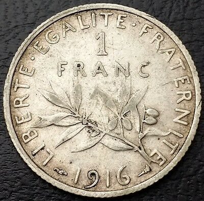 1916 France 1 Franc 0.835 Silver Coin KM# 844.1 - Great Condition