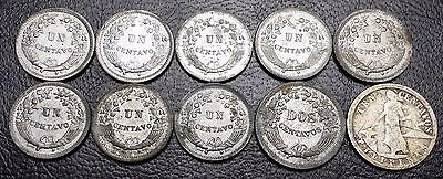 Lot of 10 Peru 1, 2 & 10 Centavos Coins - 1921 to 1953 - Great Condition Coins