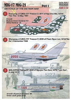 Print Scale Decals 1/32 AIR FORCE OF THE VIETNAM WAR MiG-17 & MiG-21 Fighters