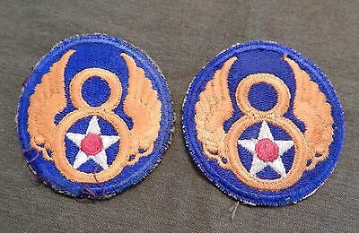 WWII / WW2 U.S. Army Air Force, 8th Air Force Uniform Shoulder Patches, Two (2),