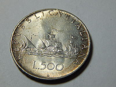 1958R Italy Silver 500 Lire Coin - .2953 Troy Oz ASW - Date on Edge