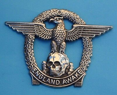"""  England  Awake  ""    White  Metal  Badge        In  Good  Used  Condition"
