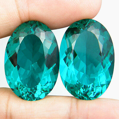 45.44 CT. MATCHING PAIR OVAL GREEN BLUE PARAIBA NANO APATITE 23.6 x 16 MM