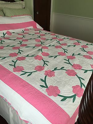 "Vintage Quilt Hand Made Stitched Pieced 87"" X 70"" Pink Applique Flowers Pie EDGE"