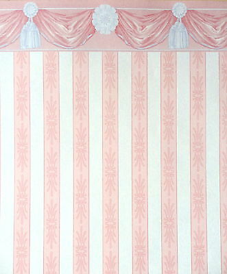 Dolls House Wentworth Swag Pink Miniature Print 1:12 Scale Wallpaper