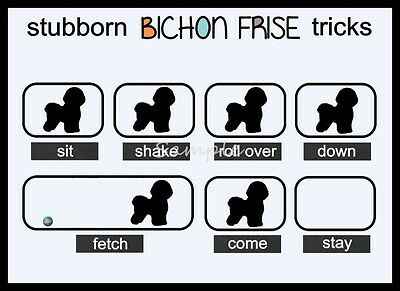 BICHON FRISE Stubborn Tricks Funny LARGE FRIDGE MAGNET