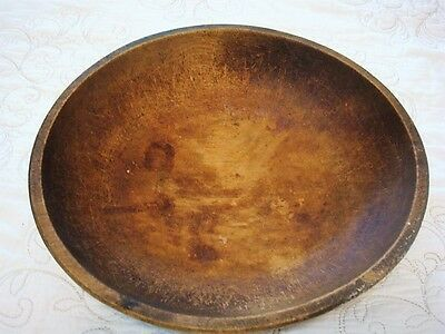 """Antique Vintage Carved Wood Round Shaped Bread Dough Bowl  - 13"""" X 11 1/2"""""""