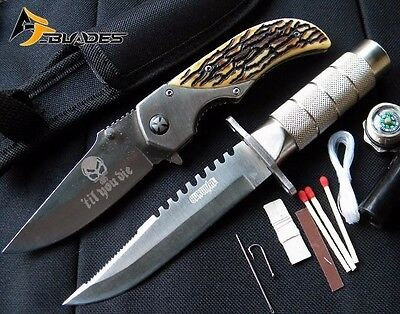 2PC Tactical Bowie Survival & Spring Assisted Knives - AJP2