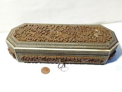 Antique Anglo Indian Carved Wood Box with Micro Mosaic Inlaid Edging