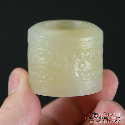 LARGE Chinese Nephrite White Jade Archaic Style Archers Ring (Banzhi), 18/19th C
