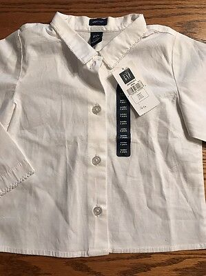 Baby Gap Toddler Girls Size 2T White Button Front Shirt NWT