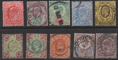 E7, SG219/248, selection of 10 stamps to 6d purple.