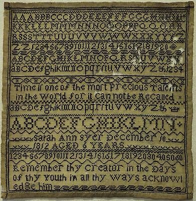 Small Early 19Th Century Black Stitch Work Sampler By Sarah Ann Syer Age 6 1812