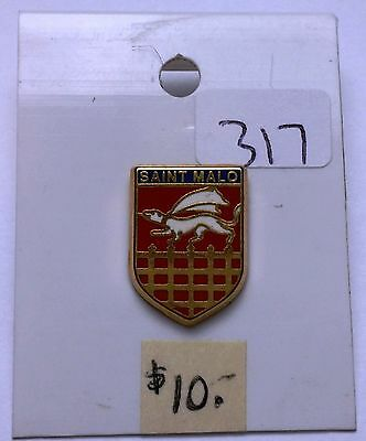 Vintage SAINT-MALO France Shield Dragon Lapel Pin-Back - Free Combined S/H