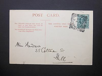 """GB Lincolnshire 1903 KEVII 1/2d """"Louth"""" Postcard MABLETHORPE Squared Circle Pmk"""