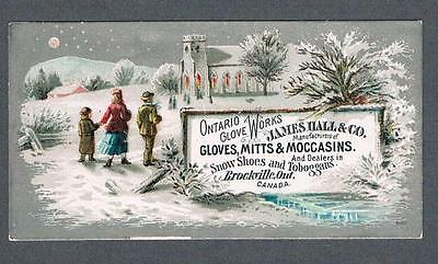 Original 1900's J. Hall Brockville Snow Shoes & Toboggans Advertising Trade Card