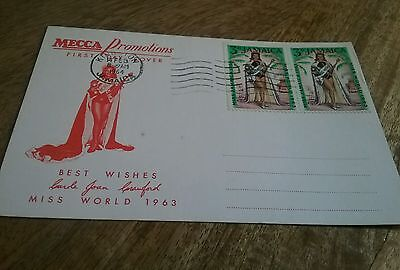 Miss World 1963  First Day Cover Postcard Jamaica Mecca