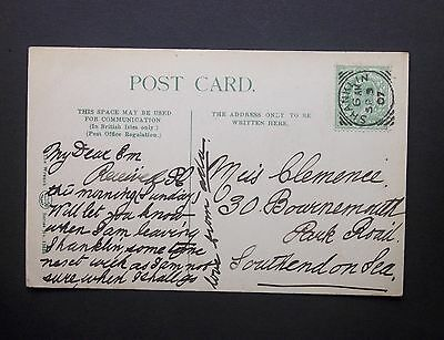 """GB Isle of Wight 1907 KEVII 1/2d """"Spencer Road"""" Postcard SHANKLIN Squared Circle"""