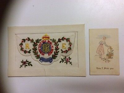 RE ( Royal Engineers ) WW1 Embroidered Silk  Postcard