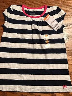 Gymboree Girls Size 6 Navy, White Striped Short Sleeve Tee Shirt NWT