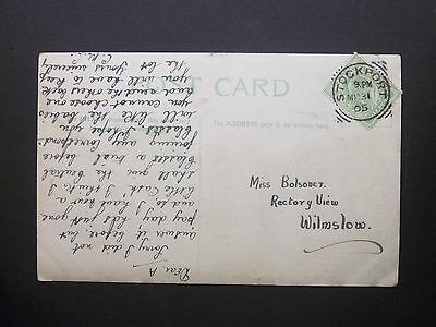 """GB Cheshire 1905 KEVII 1/2d """"Wild Violets"""" Postcard STOCKPORT Squared Circle Pmk"""