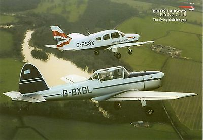 Airline Issue card BA Flying Club PA28 & Chipmunk