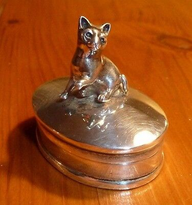 Sterling silver cat snuff or pill box 925
