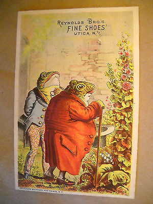REYNOLDS BRO. FINE SHOES Victorian TRADE CARD CHROMOLITHO frogs garden UTICA NY