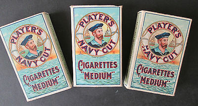 Player's Navy Cut Cigarettes - 3 VINTAGE EMPTY CIGARETTE PACKETS, BOXES OF 10