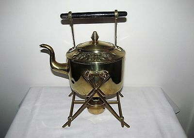 Antique Brass Spirit Kettle and Stand