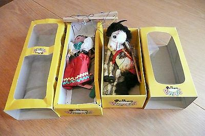 2 Vintage Pelham Boxed Puppets Horse & Gypsy Girl.