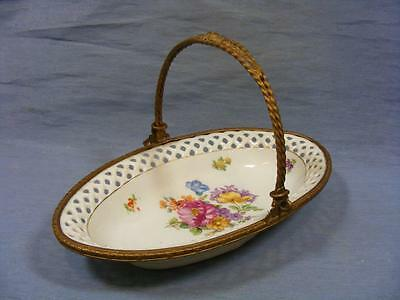 19c FRENCH FLORAL SERVING DISH ORMOLU SURROUND & HANDLE c1880