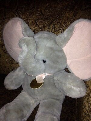 "Vintage 17"" Soft Classics GRAY ELEPHANT PINK EARS grey plush stuffed 1987"