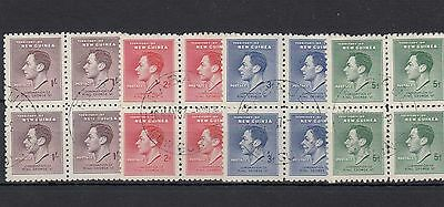 New Guinea.16 -- Early G6 Fine Used Stamps In Blocks Of 4 On Stockcard
