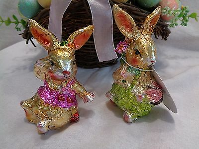 BELLA LUX FAUX CHOCOLATE FOIL EASTER BUNNY RABBITS GIRLS FIGURINE  2pc SET