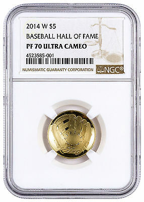 2014-W $5 Baseball HOF Domed Proof Gold Commemorative NGC PF70 UC SKU45456