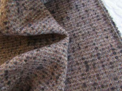 "Vtg Lightweight WOOL Fabric 56""x3yds CHOCOLATE BROWN w/ Black & Gray"