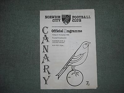 Norwich City  V  Oxford United  (Fc)  21-11-86  Four Pager