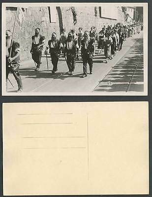 Ethnic Flag Street Procession Men Smoking Pipes Costumes Old Real Photo Postcard