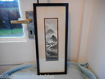 Framed Vintage Japanese Painting Mountain Scene Man On Horse  (Signed)