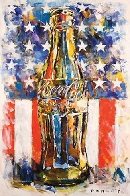 "Coca Cola art poster 24 x 36"" Soda Pop Bottle with American Flag USA"