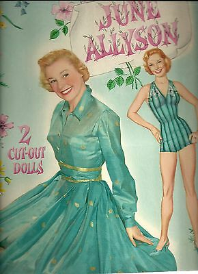 Vintage 1957 June Allyson Uncut Original Whitman 2089 Paper Doll Book
