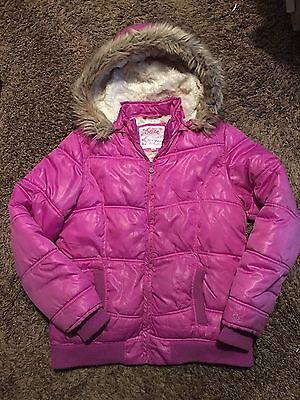 Justice Girls Purple Quilted Puffer Coat  - Size 18