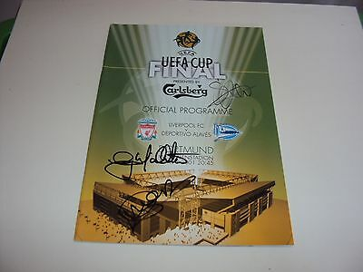 Liverpool 2001 Programme Personally Signed Mcallister Heskey Uefa Cup Final Coa