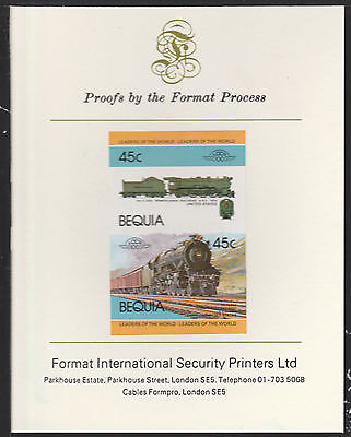 Bequia (2051) Locomotives #1 Pennsylvania K4 Class  imperf on Format PROOF  CARD