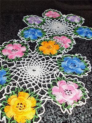 Two Colourful Vintage Doilies Hand Crocheted With Irish Roses Pattern