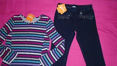 NEW Girls Size 8 Gymboree Outfit Gem Jeggings Pant Striped Tunic Shirt $52 NWT