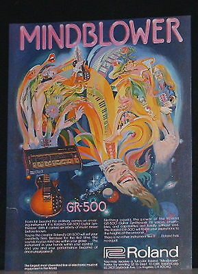 1977 Roland GR-500 guitar synthesizer mindblower print art Ad