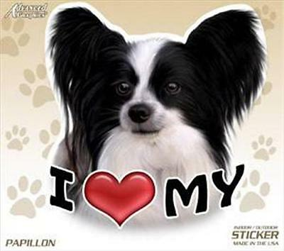 "I Love My Papillon Dog 4"" Car Home Plastic Sticker Decal Pet Gift USA"